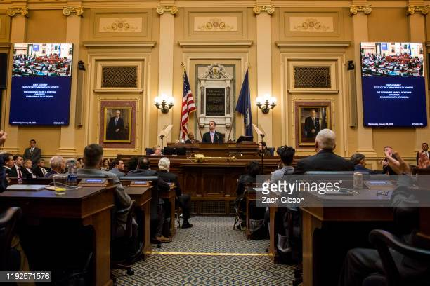 Gov Ralph Northam delivers the State of the Commonwealth address at the Virginia State Capitol on January 8 2020 in Richmond Virginia The 2020...
