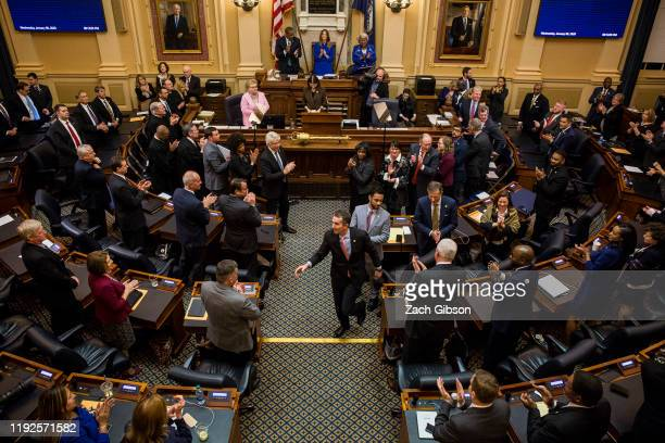 Gov. Ralph Northam departs after delivering the State of the Commonwealth address at the Virginia State Capitol on January 8, 2020 in Richmond,...