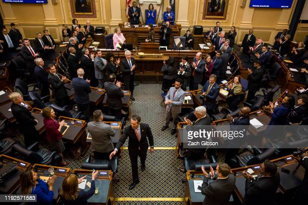 Gov Ralph Northam departs after delivering the State of the Commonwealth address at the Virginia State Capitol on January 8 2020 in Richmond Virginia...