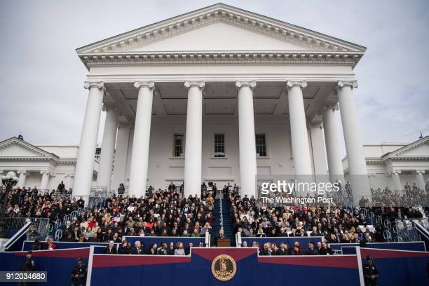 Gov Ralph Northam speaks after taking the oath of office during his inauguration on Saturday January 13 at the Virginia State Capitol in Richmond VA