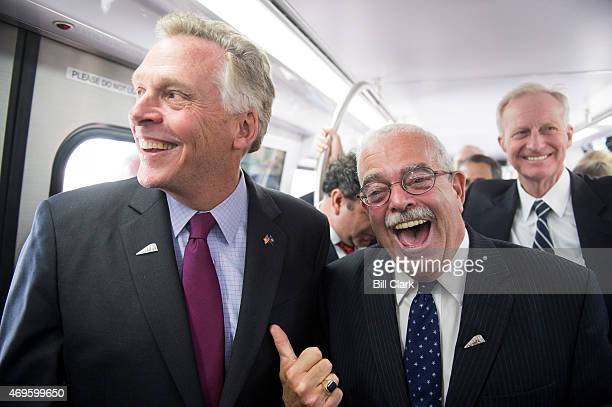 Gov Terry McAuliffe DVa left and Rep Gerald Connolly DVa talk as they ride the new 7000series train during the Washington Metropolitan Area Transit...