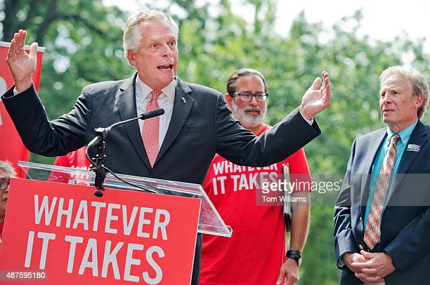 Gov. Terry McAuliffe, D-Va., speaks during a rally on the East Front lawn of the Capitol to demand that Congress take action on gun control...