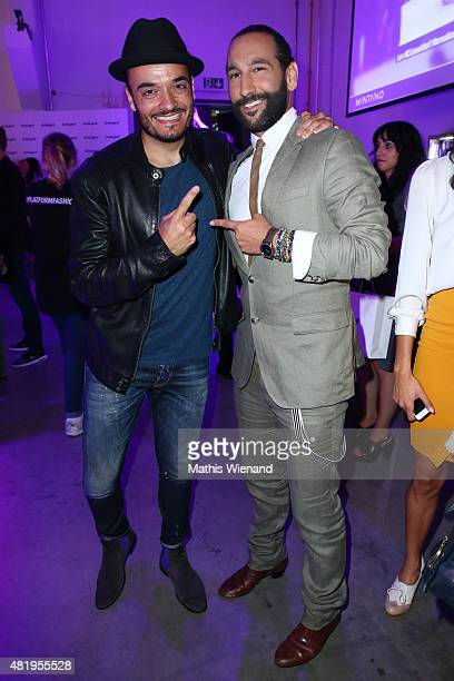 Govanni Zarella and Massimo Sinato arrive for the Unique show during Platform Fashion July 2015 at Areal Boehler on July 25 2015 in Duesseldorf...