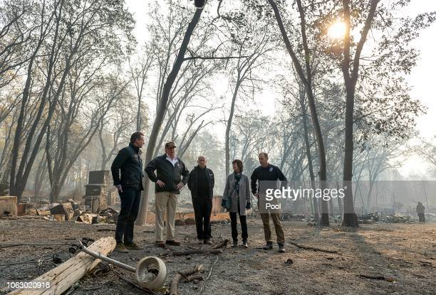 Govelect Gavin Newson President Donald Trump Gov Jerry Brown Paradise mayor Jody Jones and FEMA Director Brock Long tour the Skyway Villa Mobile Home...