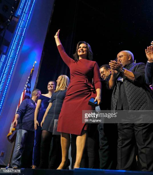 Govelect Gretchen Whitmer attends a Democratic electionnight party on November 6 2018 in Detroit Michigan Whitmer defeated Republican Bill Schuette...