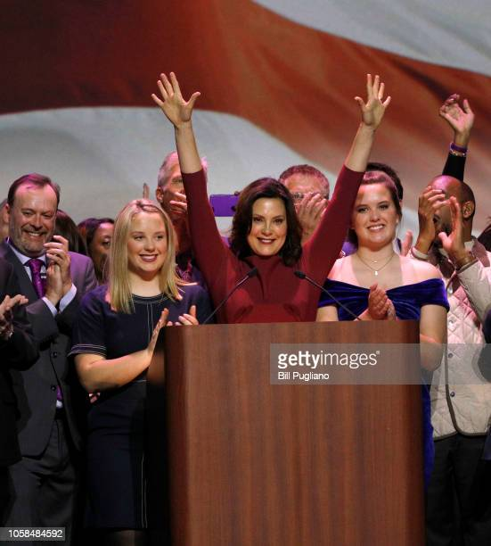 Govelect Gretchen Whitmer speaks at a Democratic electionnight party on November 6 2018 in Detroit Michigan Whitmer defeated Republican Bill Schuette...