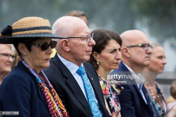 Govenor David Hurley and NSW Premier Gladys Berejiklian attend the Wugulora Ceremony at Barangaroo on January 26 2018 in Sydney Australia Australia...