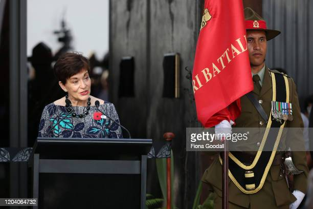 Govenor General Dame Patsy Reddy speaks at the opening of Te Rau Aroha on February 05 2020 in Waitangi New Zealand The $146 million Maori Battalion...