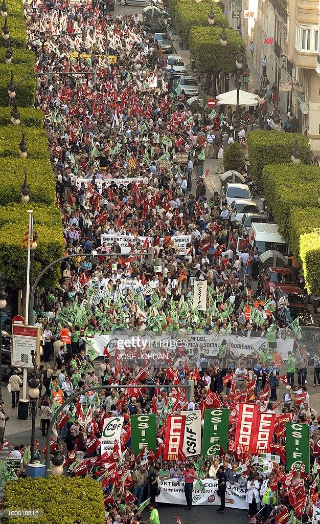 Goverment employees demonstrate against Spain's austerity policy in Valencia, on May 20, 2010. Thousands of public sector workers took to the streets of Spain Thursday to protest a tough government austerity plan aimed at reining in the public deficit and easing fears of a Greek-style debt crisis.