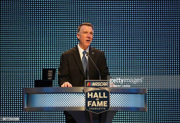 Governer of Vermont Phil Scott speaks during the NASCAR Hall of Fame Induction Ceremony at Charlotte Convention Center on January 19 2018 in...