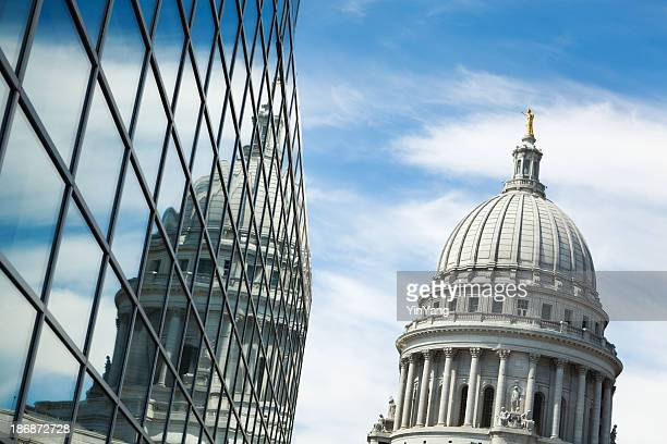 usa government and business cooperation, partnerships at wisconsin state capitol - government building stock pictures, royalty-free photos & images