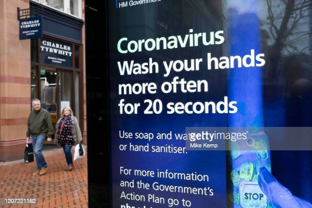 HM Government and NHS advertising boards advise regular hand washing to help prevent Coronavirus contamination on 14th March 2020 in Birmingham...