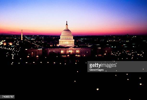 Government building lit up at night, Capitol Building, Washington DC, USA