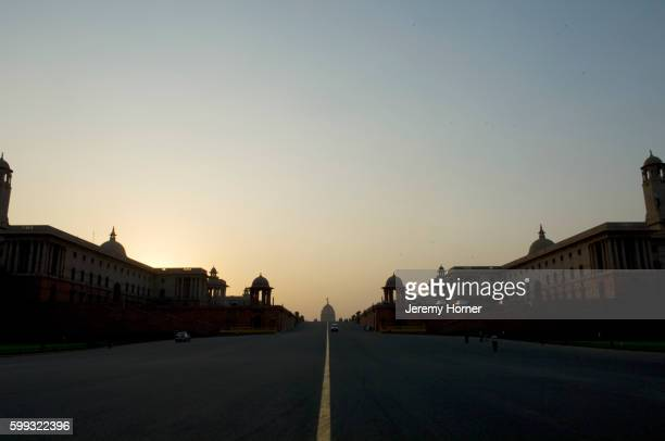 Government buildings and Presidential Palace in Delhi at dawn