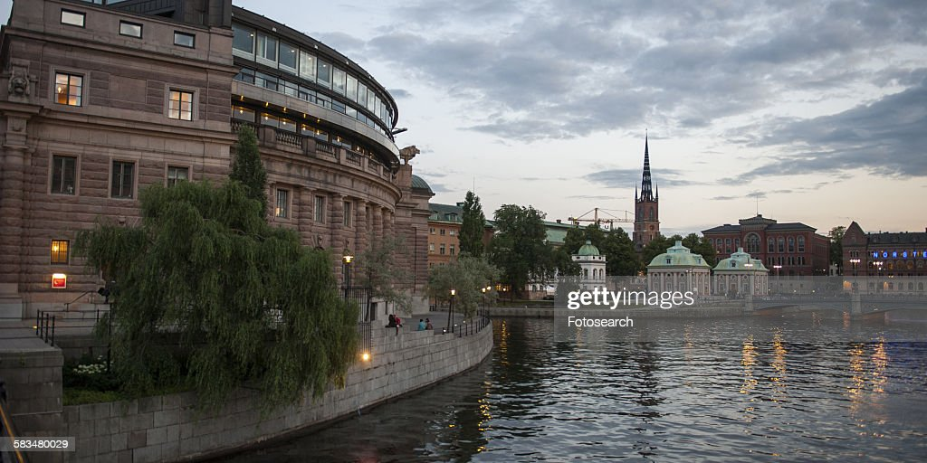 Government buildings at the waterfront : Stock Photo