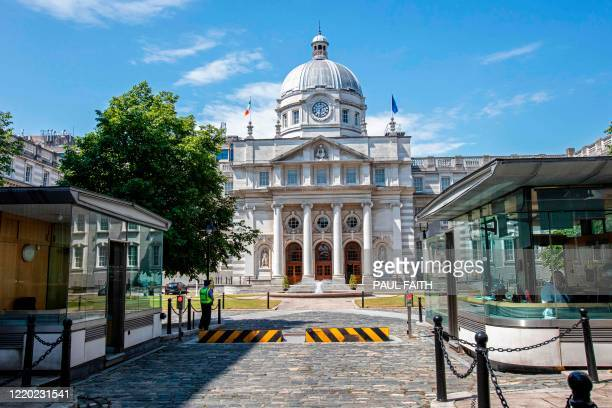 Government Buildings in Dublin is seen in the summer sunshine on June 15, 2020. - Three Irish parties are set to govern in coalition with a rotating...