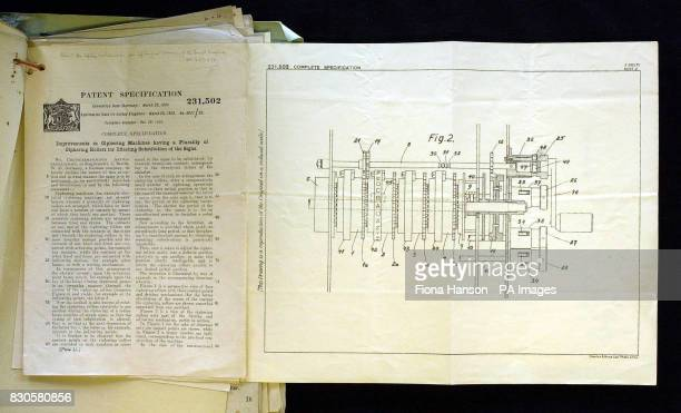 A Government Communications Headquarters file with the patent specification for the Enigma code breaking machine which will was issued at the Public...