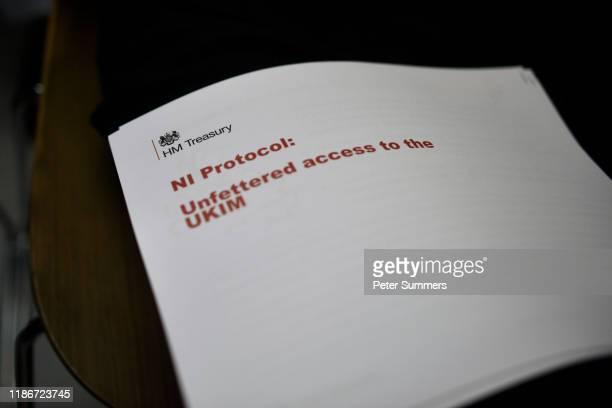 A government document is seen after Labour leader Jeremy Corbyn delivered a speech onstage on December 6 2019 in London England Mr Corbyn announced...