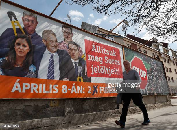 Government election poster seen on April 3 2018 in Budapest Hungary Hungary will hold a parliamentary election on April 8 2018