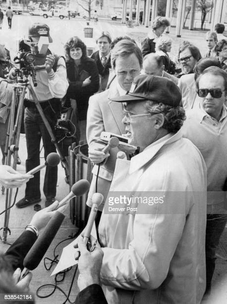 Government Employees Charles W Carter surrounded by microphones a national vice president of the American Federation of Government Employees told...