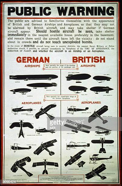 Government information poster showing examples of British and German airships and planes so that the public can take shelter if they see an enemy...