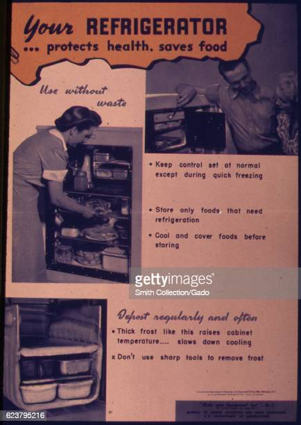 Government issued wartime educational poster encouraging Americans to properly store food so that it doesn't go to waste 1941