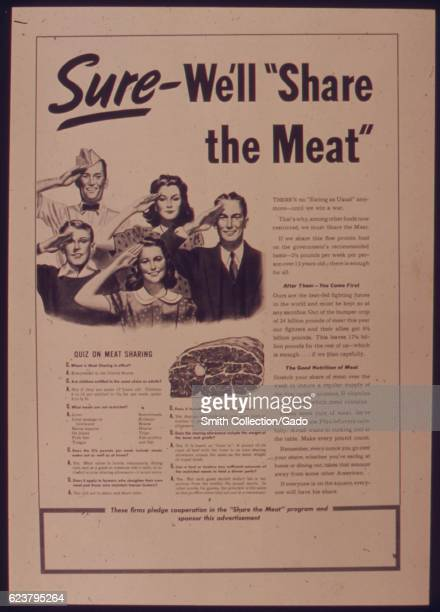 Government issued wartime educational poster encouraging Americans to share meat 1941
