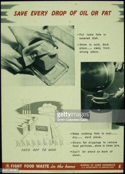 Government issued wartime educational poster urging Americans to conserve oil and fat 1941
