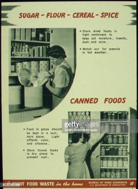 Government issued wartime educational poster urging Americans to properly store food so that it doesn't go to waste 1941