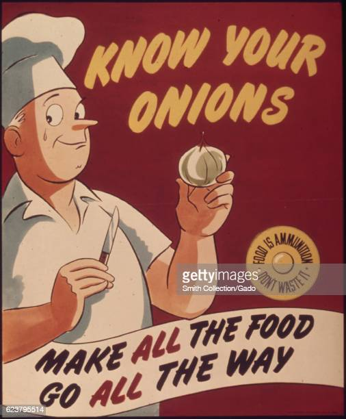Government issued wartime poster encouraging Americans not to waste food 1943