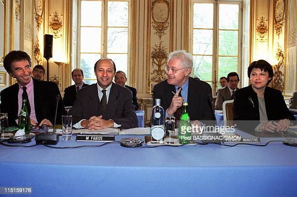 Government Meeting at Hotel Matignon in Paris France on March 30 2000 Jack Lang Laurent Fabius Lionel Jospin Martine Aubry