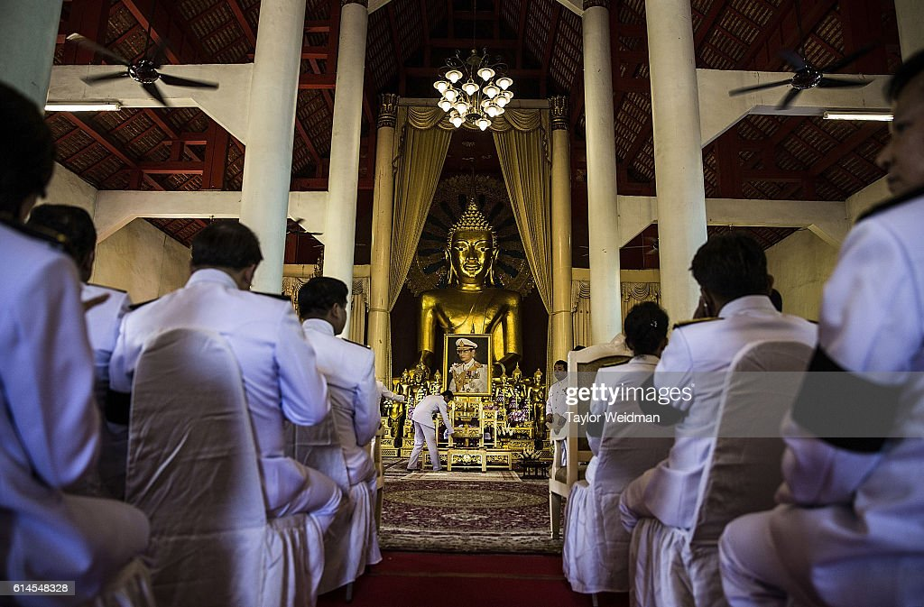 Government, military, and community leaders wait for the beginning of a ceremony at Wat Phra Singh on October 14, 2016 in Chiang Mai, Thailand. Thailand's King Bhumibol Adulyadej, the world's longest-reigning monarch, died at the age of 88 in Bangkok's Siriraj Hospital on Thursday after his 70-year reign. Prime Minister Prayut Chan-ocha made a statement Thailand would hold a one-year mourning period as the Crown Prince Maha Vajiralongkorn confirmed that he would perform his duty as heir to the throne.