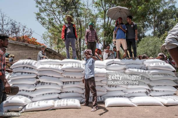 Government personnel stand next to sacks of wheat during a food distribution in Ataye, Ethiopia, on May 15, 2021. - More than 100 civilians died in a...
