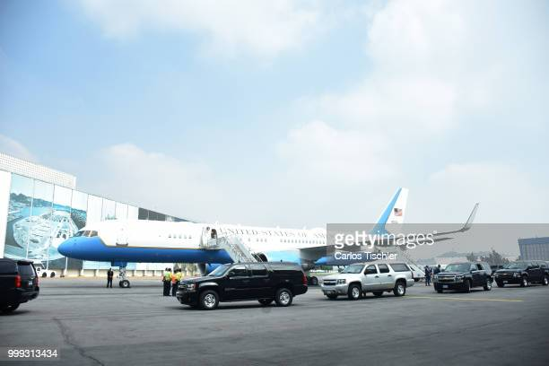 S government plane looks at Mexico's International Airport as part of an official visit at Mexico's International Airport on July 13 2018 in Mexico...