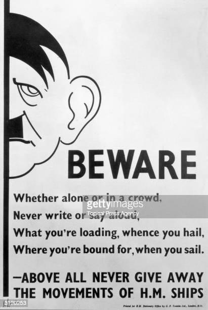 A government poster issued by the British Ministry of Information in February 1940 as part of a massive wartime 'antigossip' campaign The poster...