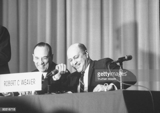 US Government Robert C Weaver Head of John F Kennedy's Housing and Home Finance Agency at fund for the Republic meeting