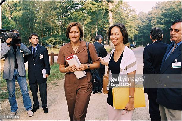 Government Seminar In Rambouillet France On September 10 1999 Dominique Voynet and Segolene Royal