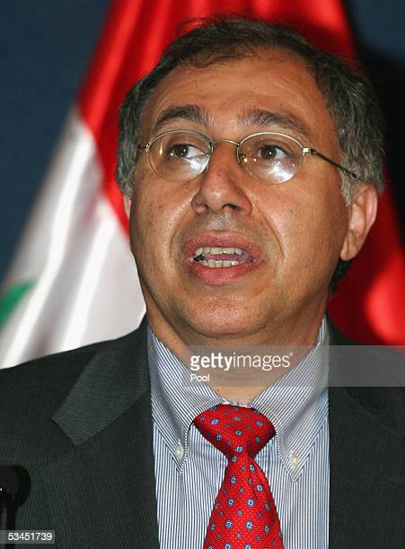 Government spokesman Laith Kubba speaks at a press conference in Baghdad's fortified Green Zone on August 23 2005 in Baghdad Iraq The press...