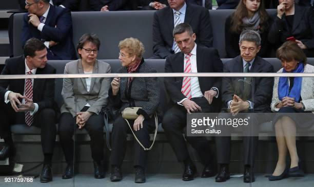 Government spokesman Steffen Seibert Merkel office director Beate Baumann Herlind Kasner mother of German Chancellor Angela Merkel an unidentifed man...