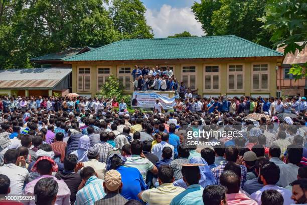 LAL CHOWK SRINAGAR JAMMU KASHMIR INDIA Government teachers shouts anti Government slogans during protest in Srinagar on tuesday Police used water...