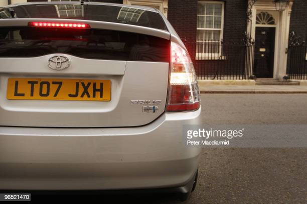 A government Toyota Prius car waits in Downing Street on February 9 2010 in London England Toyota have announced a worldwide recall of their Prius...