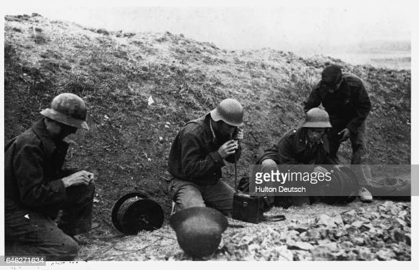 Government Troops Install Field Telephones In A Trench On The Barcelona Front
