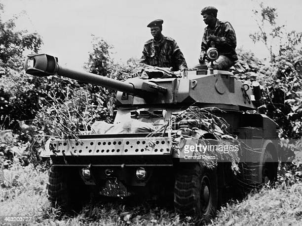 Government troops on an armoured car during the Nigerian Civil War also known as the Biafran War Okitipupa Nigeria circa 1969