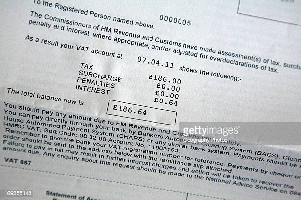 UK government VAT tax forms detail statement of account letter showing amount due