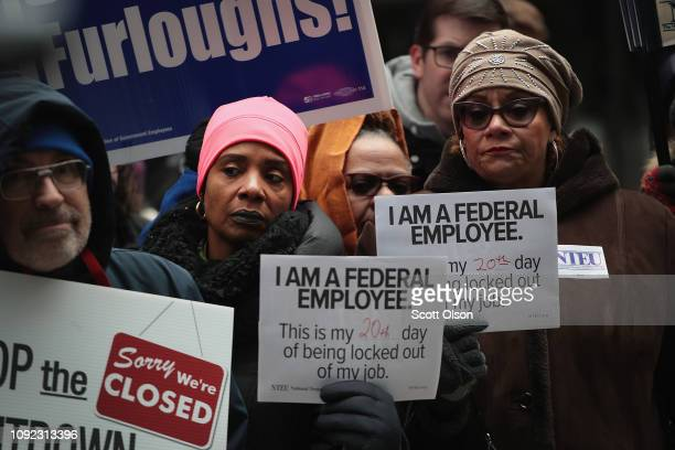 Government workers protest the government shutdown during a demonstration in the Federal Building Plaza on January 10, 2019 in Chicago, Illinois. The...