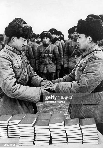 Governmental Agents Distributing Mao Tse Tung'S Little Red Book During The Chinese Cultural Revolution In August 1966