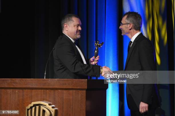 Governor and Dell Director of Workstation Virtualization Gary Radburn presents the Wheatstone Award to Sony President of Physical Production for...