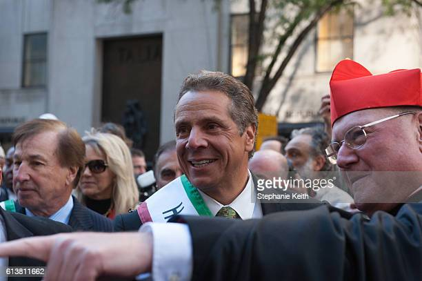 Governor Andrew Cuomo is greeted by Cardinal Timothy Dolan in the annual Columbus Day Parade on October 10 2016 in New York City This is the 72nd...