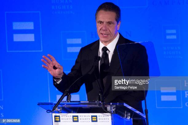 Governor Andrew Cuomo opens the 17th Annual HRC Greater New York Gala at Marriott Marquis Broadway Ballroom on February 3 2018 in New York City