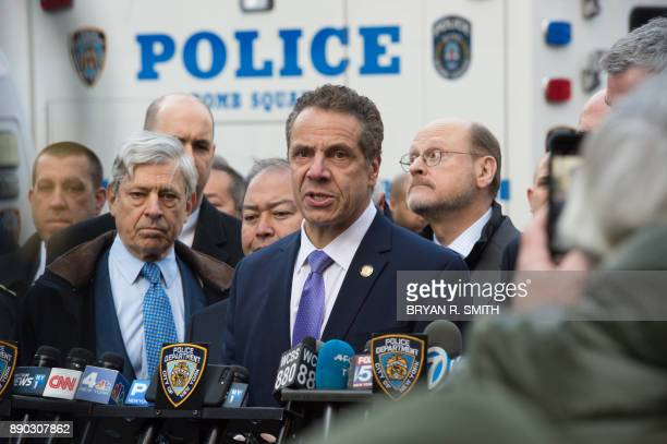 NY Governor Andrew Cuomo speaks at a press conference as police respond to a reported explosion at the Port Authority Bus Terminal on December 11...